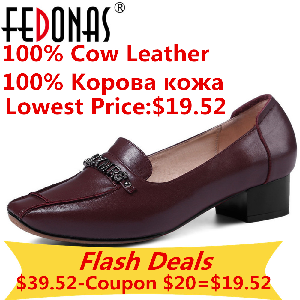 FEDONAS Women 100 Cow Genuine Leather High Heels Pumps Fashion Sexy Square Toe Party Office Pumps