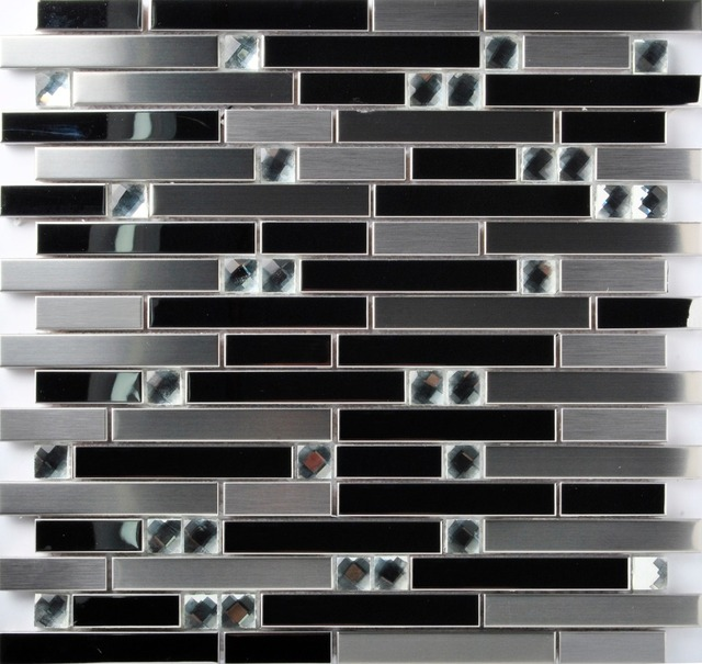 tst stainless steel mosaic tile black and silver mirror