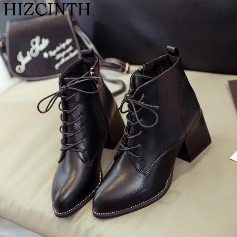 HIZCINTH 2017 Autumn Boots Shoes Woman High Heel Martin Boots Korean Fashion Ankle Booties Lace up Pointed Toe Bota Feminina 2017 fashion new red horsehair women ankle boots square high heel short booties autumn zip up martin botines mujer women pumps