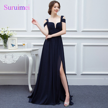 100% Real Navy Blue Chiffon Bridesmaid Dresses Side Slit Formal Wedding Party Gown Floor Length Cheap Long Bridesmaid Gowns 2018