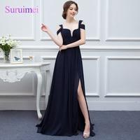 Navy Blue Color Chiffon Bridesmaid Dresses Floor Length Cheap Long Bridesmaid Dress Side Slit Formal Wedding