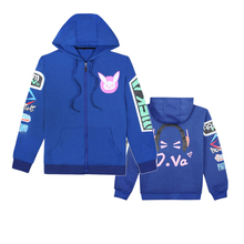 Cosplay Sweater Dva Game Cos Thickening Plus Velvet Zipper Hooded Anime Jacket long sleeve hooded Sweatshirts