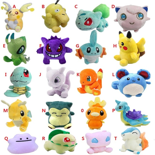 20 estilos Brinquedo de Pelúcia Mewtwo 12-18 cm Peluche Snorlax Pikachu Charmander Dragonite Cute Suave Stuffed Dolls Para Crianças presente de natal