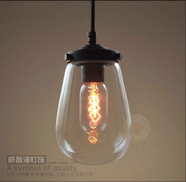 American Vintage Style Pendant Lights Glass Lampshade Kitchen Bedroom  Pendant Light Coffee Bar Lamp Fixtures 110