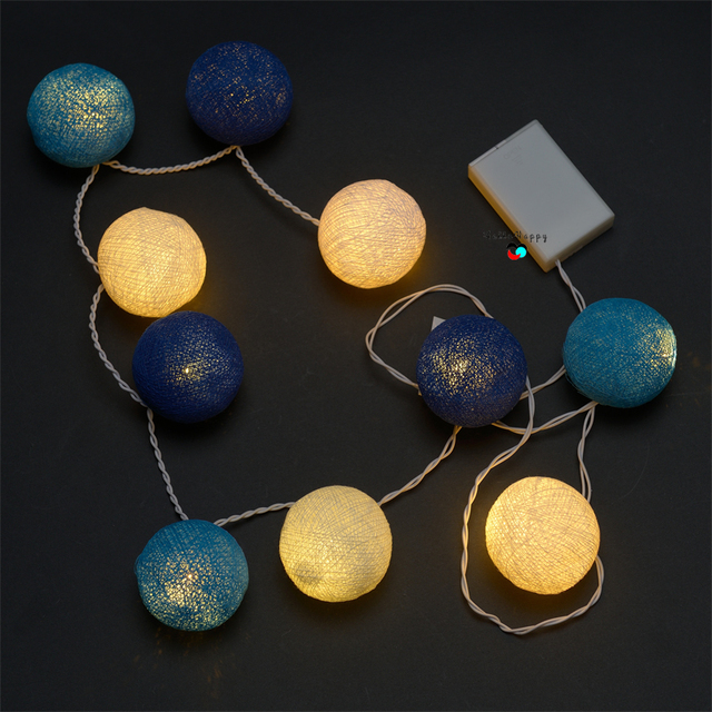 Cotton Ball Lights 1 2m 10 Led Fairy String Battery Operated Gardland Bedroom Christmas Kids Home Wedding Decoration Warm