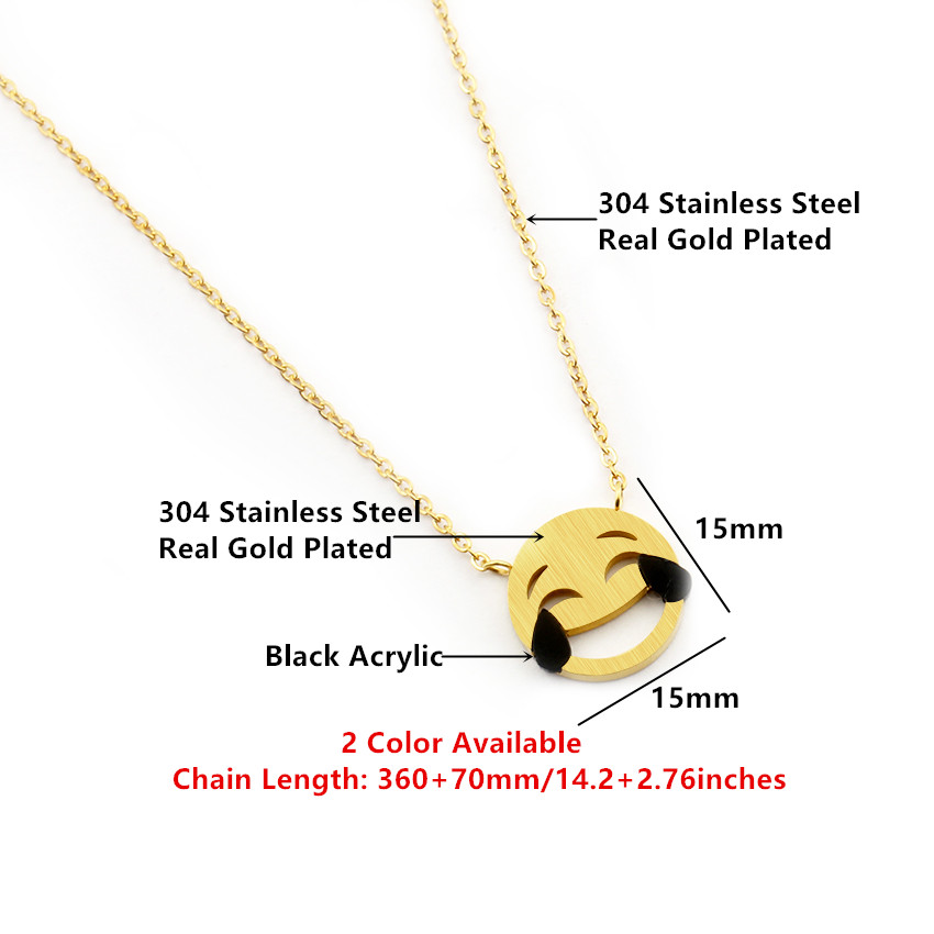 Funny Laughing tears Face Pendant Necklaces For Women Emoji