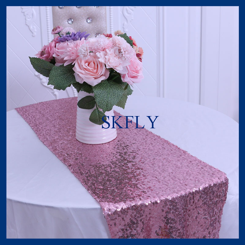RU009G Good Quality Party Wedding Glitter Rose Pink Sequin Table Runner