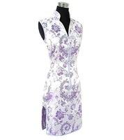Promotie paars traditionele chinese dame clothing rayon cheongsam qipao prom jurk totem & bloem maat sml xl xxl xxxl l017-h
