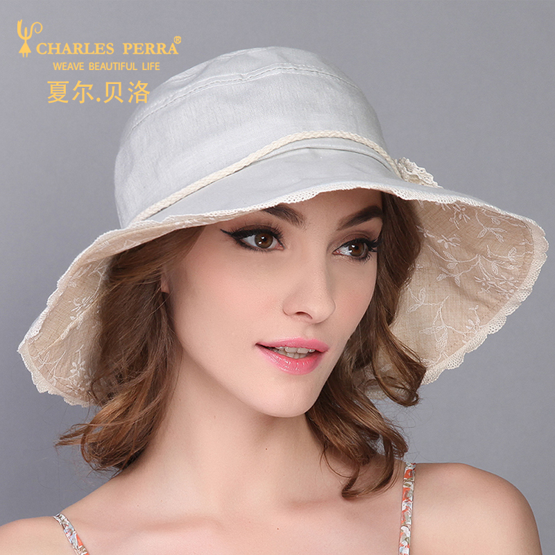 f3b5c499 Charles Perra Women's Sun Hat Summer Casual Collapsible Sunscreen Fashion  Elegant Lady Caps Female Big Brim Hats 1536-in Sun Hats from Apparel  Accessories ...