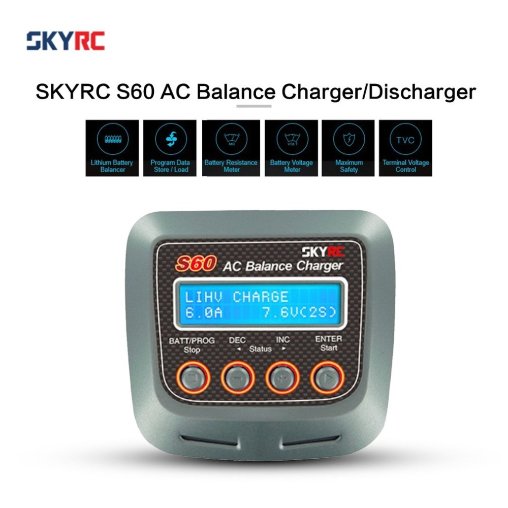 все цены на New High Quality SKYRC S60 60W AC Balance Battery Charger Discharger for Remote Control Airplane RC Car Charging Accs