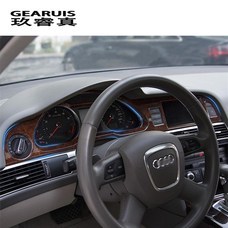 Style de voiture tableau de bord décoratif couvre Autocollants garniture pour Audi A6 c6 console centrale navigation Intérieur auto Accessoires
