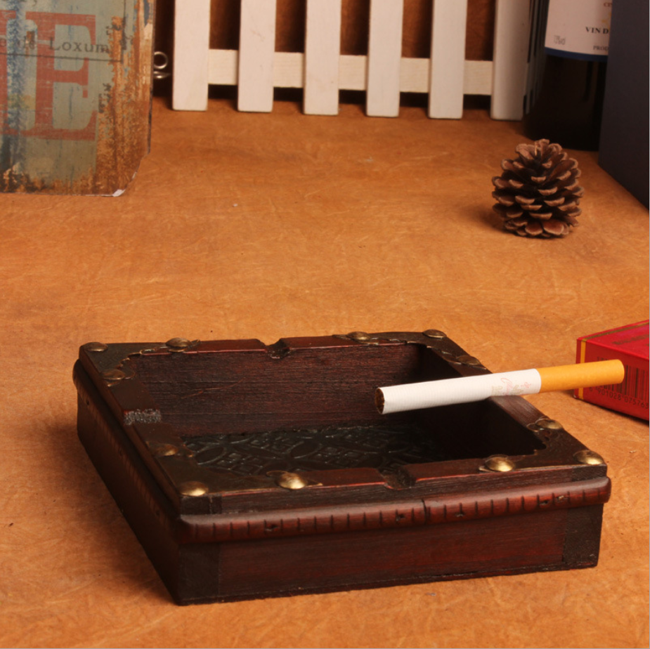 Natural Wood Ashtray Handmade Cigarette Cigar Tobacco Smoking Ash Tray Case For KTV Restaurant Bar Home Office