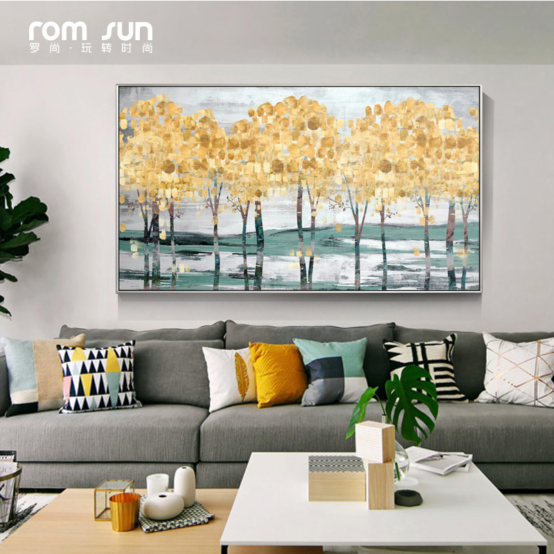 HD Print Modern Abstract Gold Money Sea Wave Oil Painting on Canvas ...