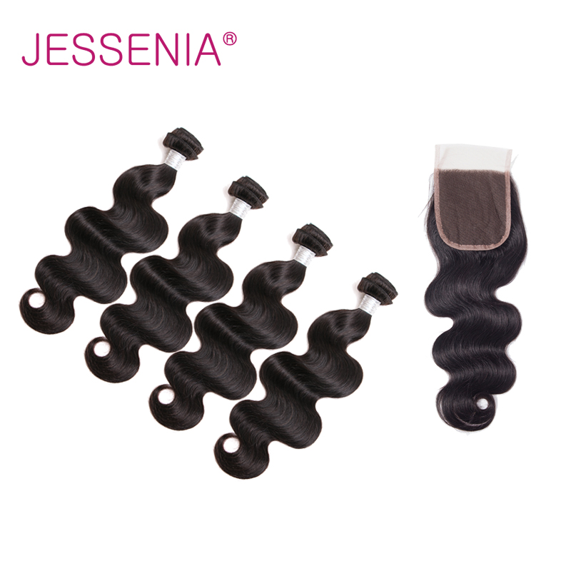 JESSENIA HAIR Indian Body Wave Hair 4Bundles With Closure Human Hair Remy Hair Natural Color Middle/Free/Free Part For Shipping
