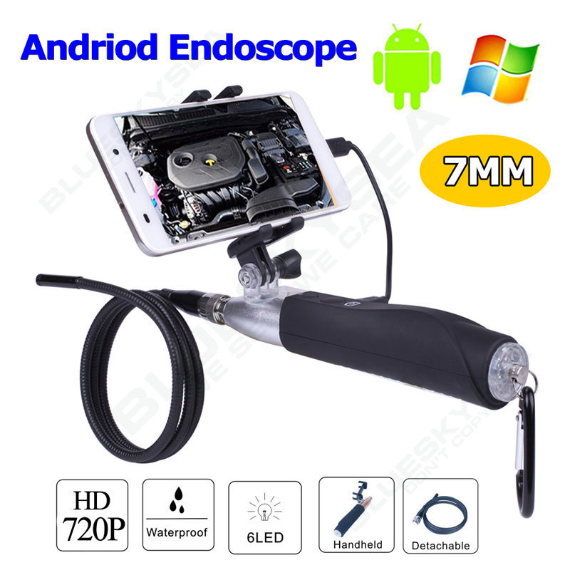 Handheld 720P 7mm Inspection Borescope Endoscope Camera Waterpoof For PC Android Free shipping