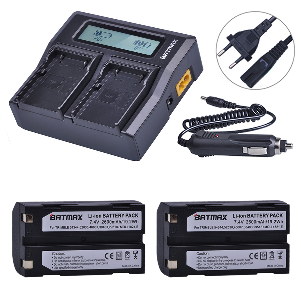 2Pcs <font><b>7.4V</b></font> <font><b>2600mAh</b></font> <font><b>Battery</b></font> + Rapid LCD Dual Charger for Pentax D-LI1 Trimble 5700,5800,R6,R7,R8,TSC1 GPS RECEIVER image