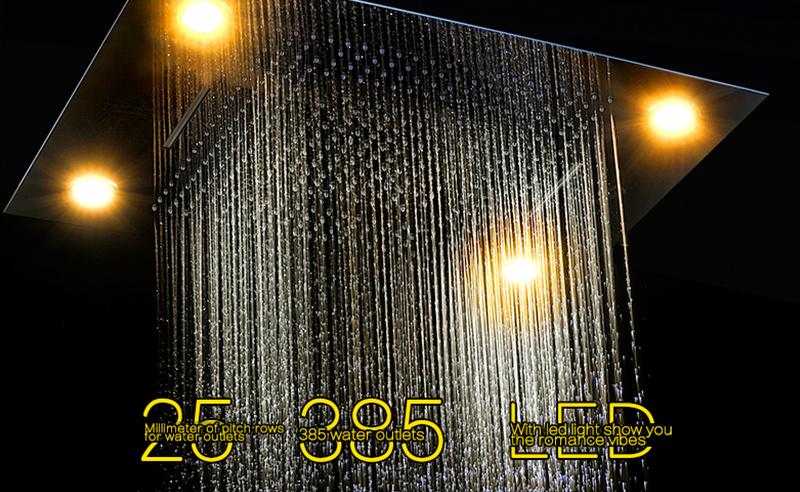 Luxury Led Rain Shower Head Large Rain LED Shower Set with Waterfall Shower Head with Embedded Ceiling 600x800 Rainfall Spout (8)