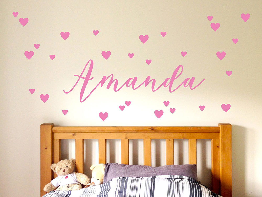 Us 6 97 25 Off Personalized Nursery Wall Decal Custom Name Stickers For Kids Rooms Soft Pink Red White Heart Available Vinyl Decals D678 In
