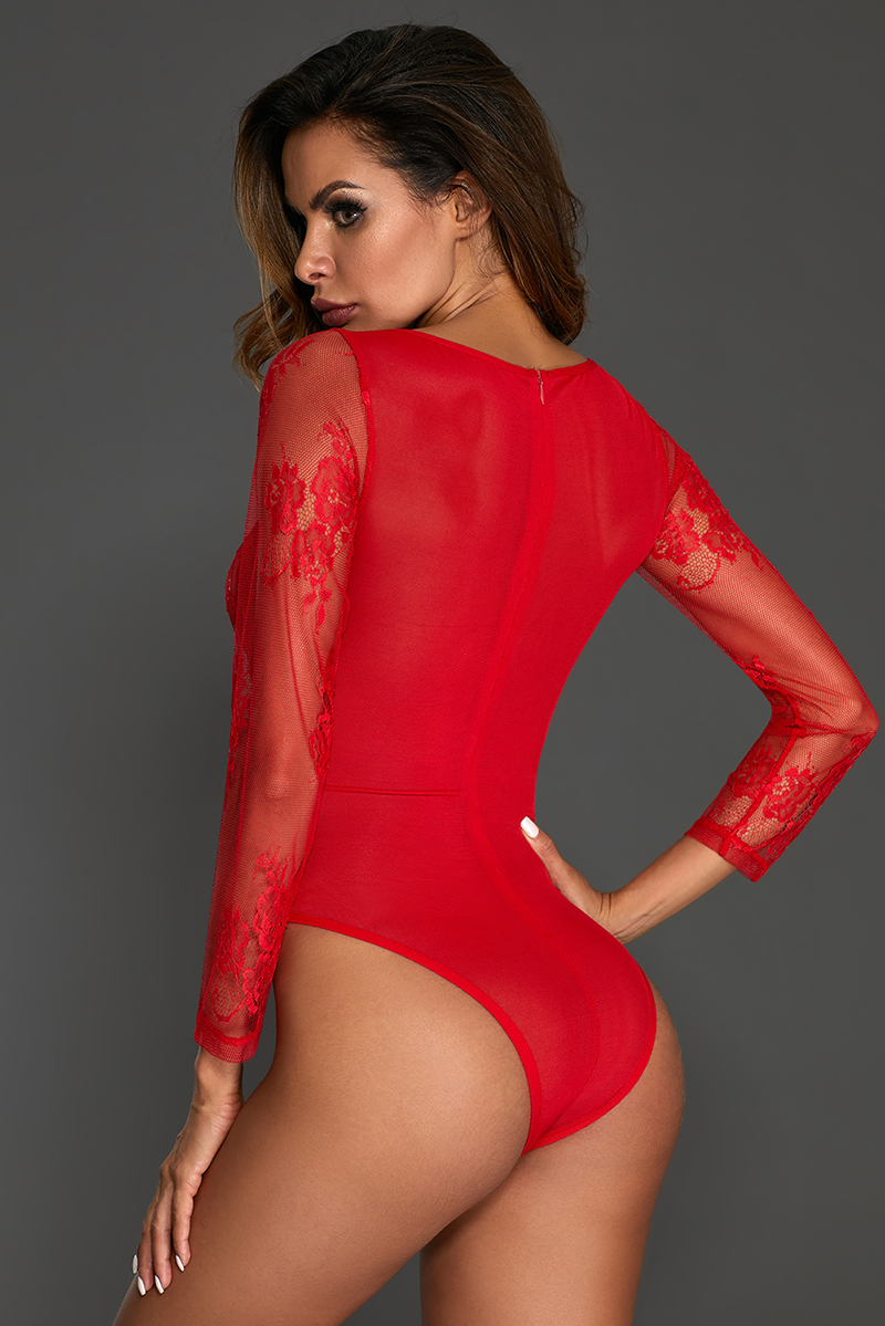 Red-Long-Sleeve-Underwire-Lace-Bodysuit-LC32299-3-4