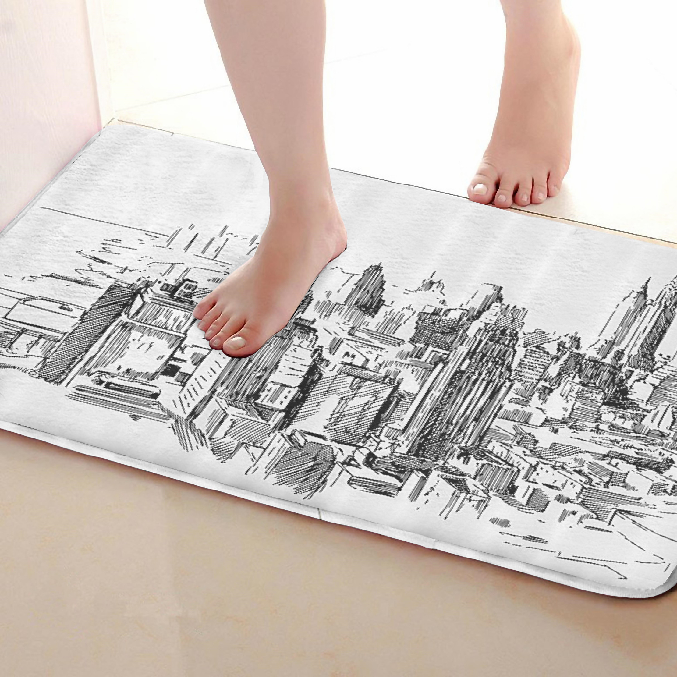 City Style Bathroom Mat,Funny Anti Skid Bath Mat,Shower Curtains Accessories,Matching Your Shower Curtain