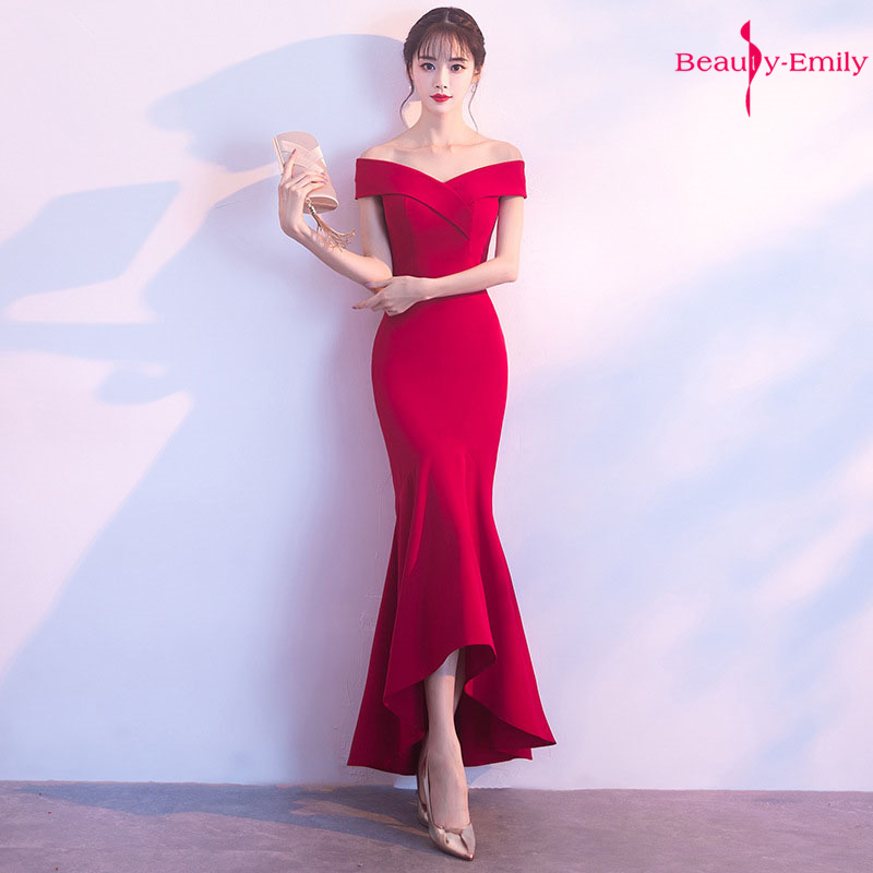 Beauty Emily Off The Shoulder Elegant Burgundy Evening Dresses Sleeveless Mermaid Party Dress Vestido De Noche Robe De Soiree