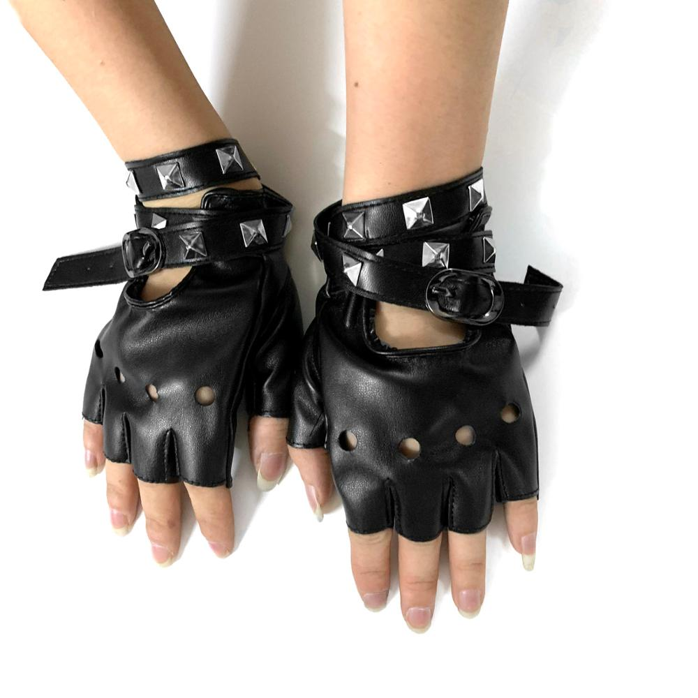 Cool Three Skull Studded Punk Rock Biker Womens Fingerless Leather Gloves #3034