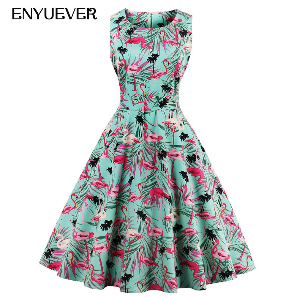 Enyuever Vintage Dresses 50s 60s Robe Pin Up Swing Floral Flamingo