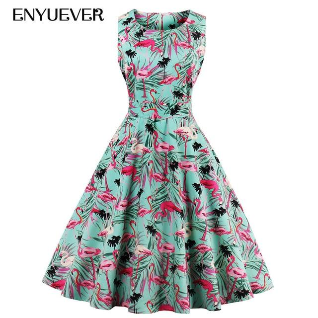 Enyuever Vintage Dresses 50s 60s Robe Pin Up Swing Floral Flamingo Print  Casual Rockabilly Party Plus Size Retro Dress Vestidos 6ef3bd18cdcc