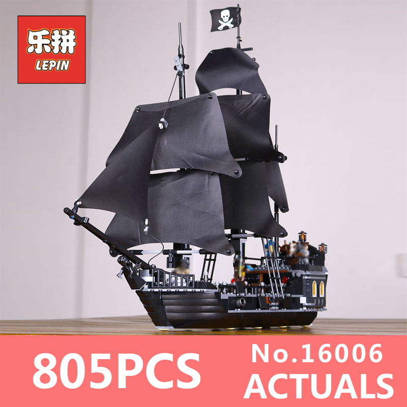 LEPIN 16006 804Pcs Pirates of the Caribbean The Black Pearl Building Blocks Educational Funny Toys LegoINGlys 4184  For Children waz compatible legoe pirates of the caribbean 4184 lepin 16006 804pcs the black pearl building blocks bricks toys for children