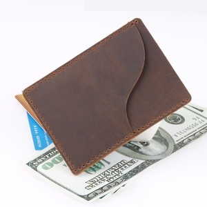 Image 2 - 100 pieces / lot 9.8x7cm Genuine Cow Leather Business ID Card Holder Crazy Horse Leather Travel Credit Wallet Men Purse Case
