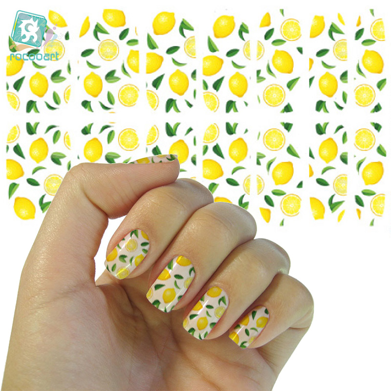 Rocooart K5693 Water Transfer Foil Nails Art Sticker Fresh Green Lemon Leaf Manicure Decor Decals Wraps Foil Sticker For Nail