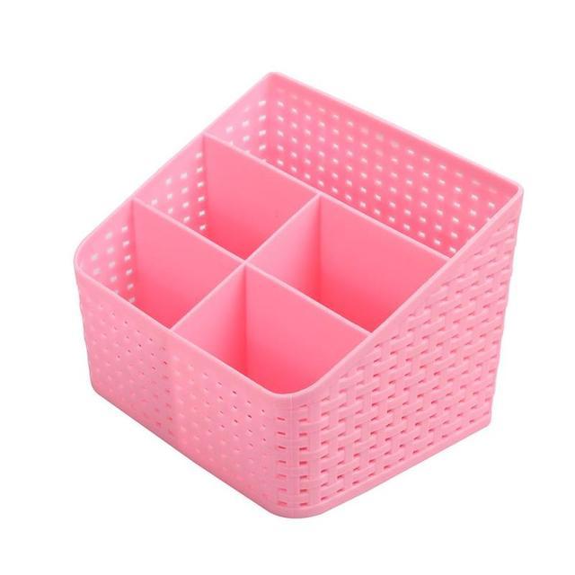 Good Plastic Desk Storage Box 5 Pocket Desktop Sundries Cosmetic Organizer Remote  Control Phone Charger Holder Box