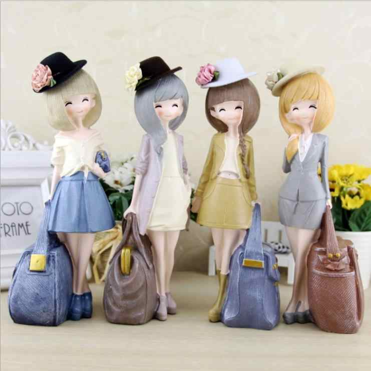 Resin Craft Beautiful Girl Figurines Living Room Ornaments Valentine 's Day Girlfriend Birthday Gift E135