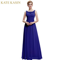 2017 Designer Elegant Long Evening Dress Royal Blue See Through Neckline V Back Chiffon Formal Evening Dresses Party Gown 0061