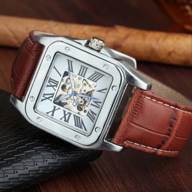 d4258db66c2 Marca de luxo Quadrado Clássico Relógio dos homens Movimento Mecânico  Automático Skeleton Roma Digital Relógios de