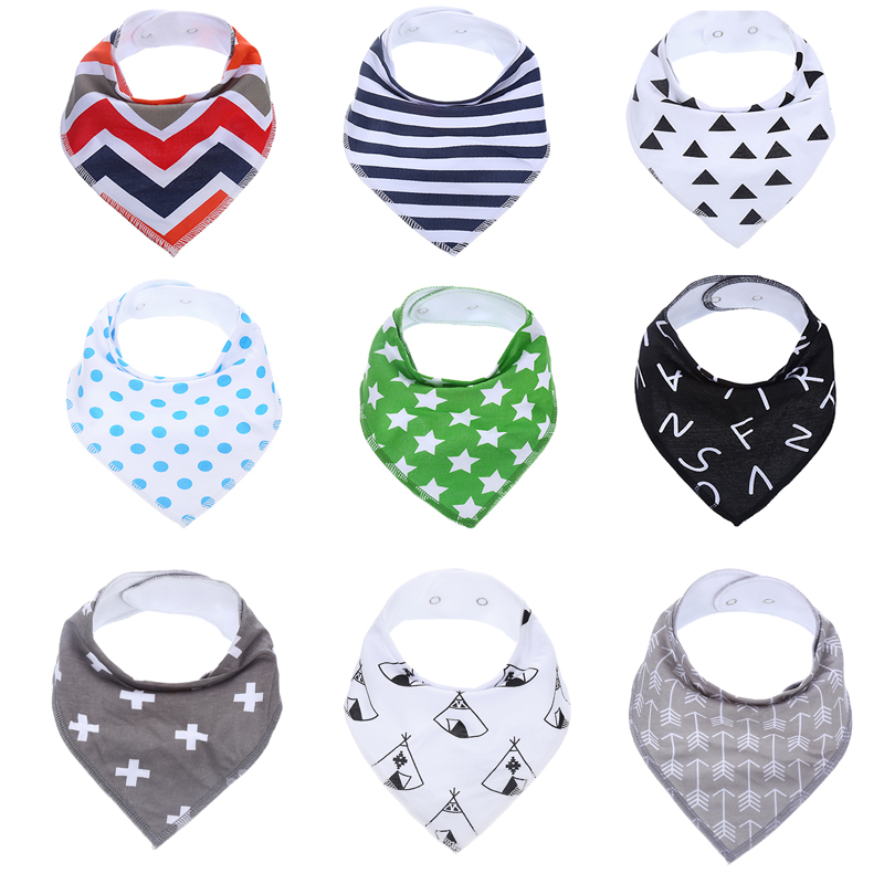 9Pcs/Lot 12 Styles New Baby Burp Bandana Bibs Cotton Soft Kids Toddler Triangle Scarf Bib Cool Accessories Infant Saliva Towel