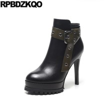 Platform Ankle Ladies Stiletto Booties Short Waterproof Fashion Shoes Sexy  Round Toe Extreme Black High Heel Women Boots Winter b4c879fd5d1a