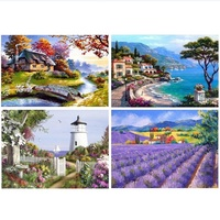 5D Needlework DIY Diamond Embroidery Landscape Picture Full Mosaic Resin Round Rhinestone Lavender House Scenic Painting