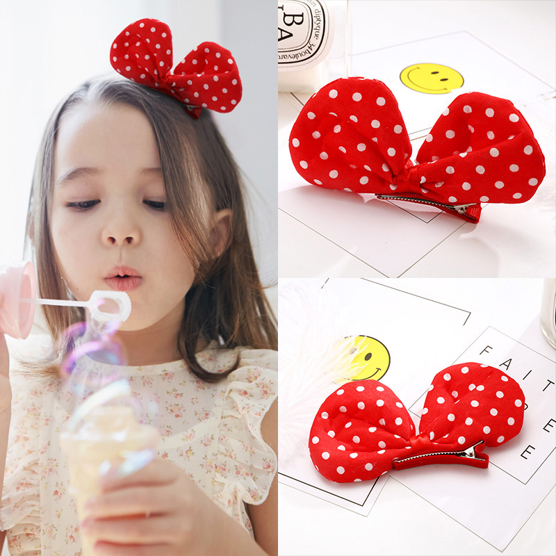 New Cut White Dot Red Bow Girls Hair Clips Fashion Kids Hairpin Hair Ornament Princess Gift Hair Accessories Headband new 10pcs girls merry christmas headband flower hair elastic bands red hair accessories bow animals pattern ropes ties gift