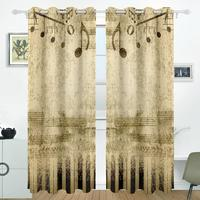 Vintage Music Curtains Drapes Panels Darkening Blackout Grommet Room Divider For Patio Window Sliding Glass Door
