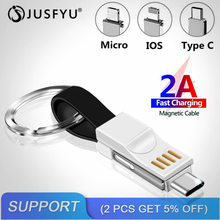 все цены на 3 in 1 Mini Keychain USB Cable Micro USB Type C USB C For iPhone Xs X 6s iPod Charger Data Sync 2A Fast Charging Cable Cord Wire онлайн