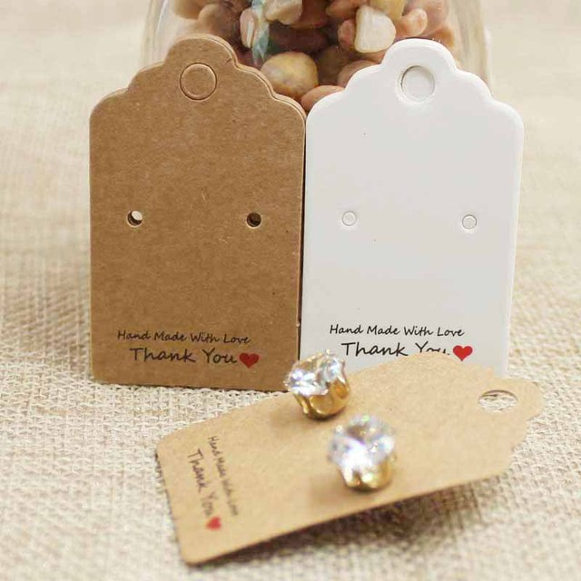 Kraft White Cardboard Jewelry Package Display Card Pretty Scallop Thank You Stud Earring