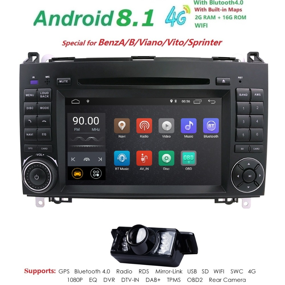 Android 8.1 2din Auto radio DVD de Voiture multimédia pour Mercedes Benz B200 Un B Classe W169 W245 Viano Vito W639 sprinter W906 WIFI GPS