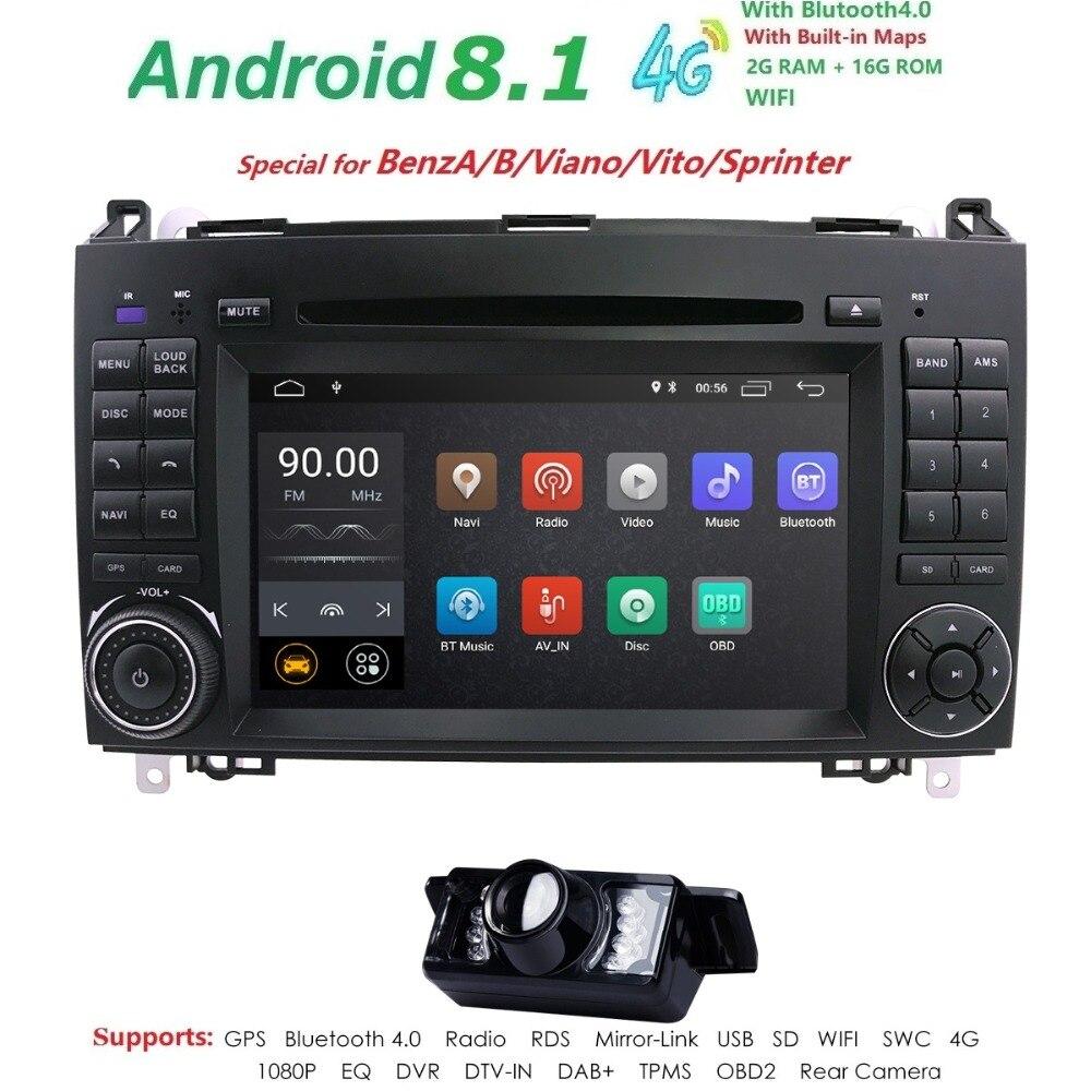 Android 8.1 2din Auto radio Voiture DVD multimédia pour Mercedes Benz B200 Une Classe B W169 W245 Viano Vito W639 sprinter W906 WIFI GPS