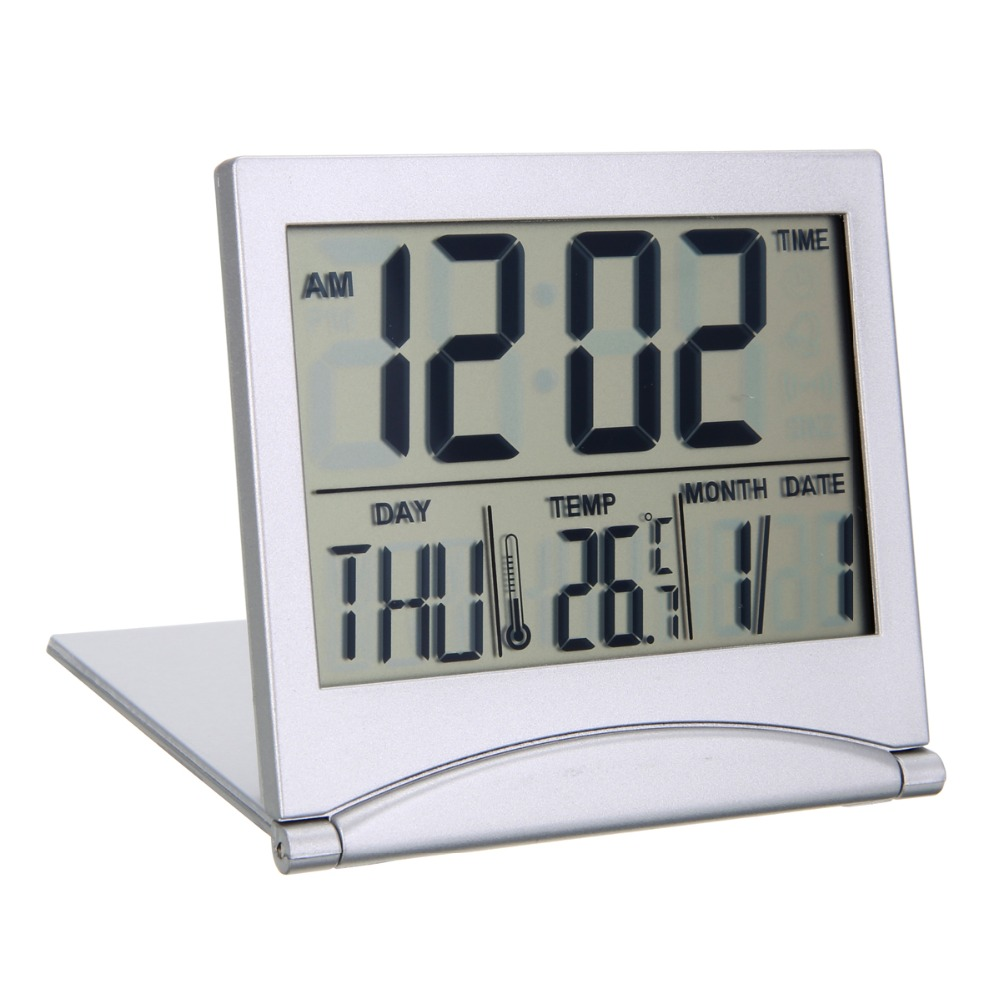 Folding Alarm Clock LCD Digital Weather Station Desk Temperature Travel Alarm Clock For Home Travel Digital Alarm Clock