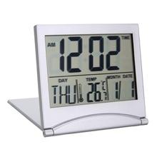 Folding Alarm Clock LCD Digital Weather Station Desk Temperature Travel for Home