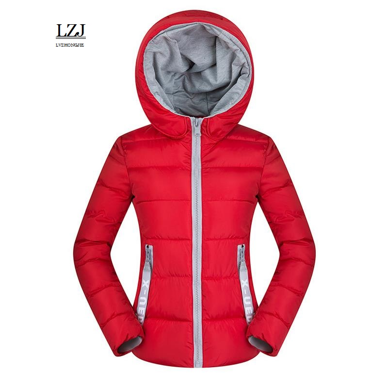 LZJ 2017 Women Basic Down Top font b Jacket b font Plus Size Female Coat Slim
