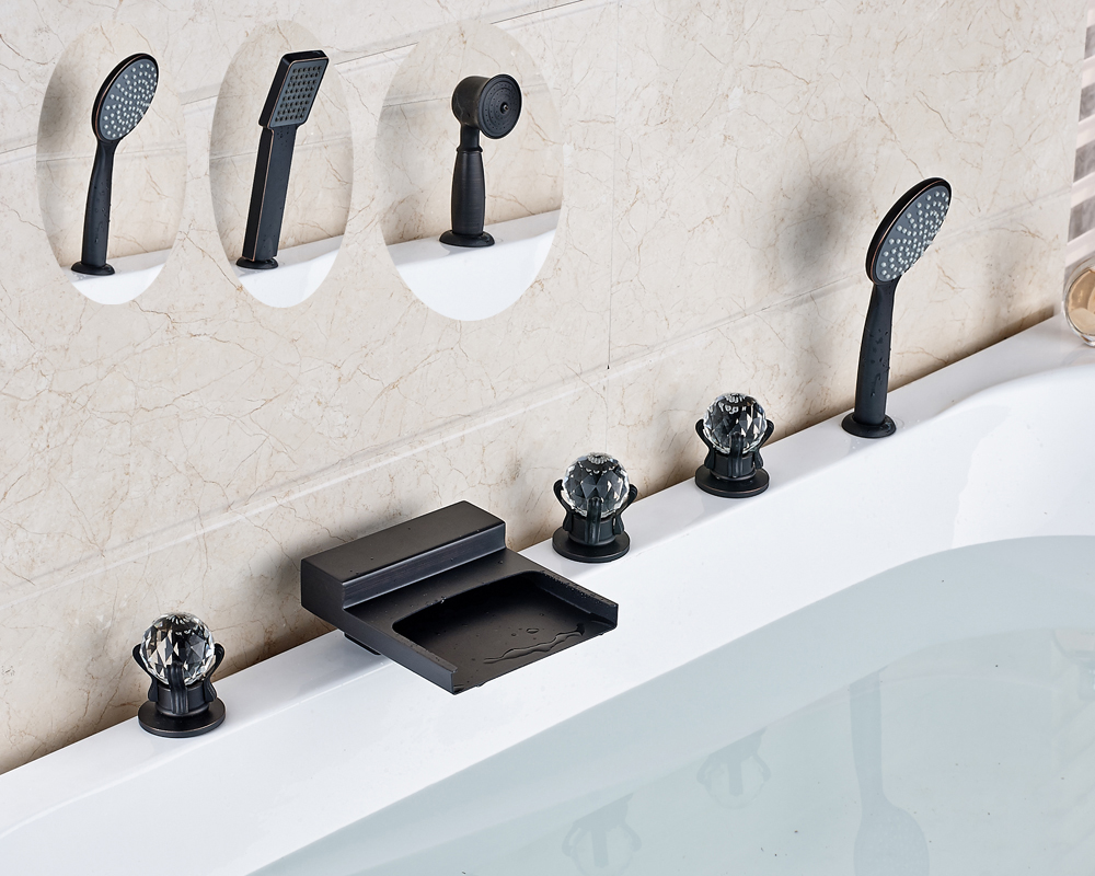 Oil Rubbed Bronze Deck Mounted Widespread 5pcs Waterfall Spout Three Crystal Handles With Hand Shower