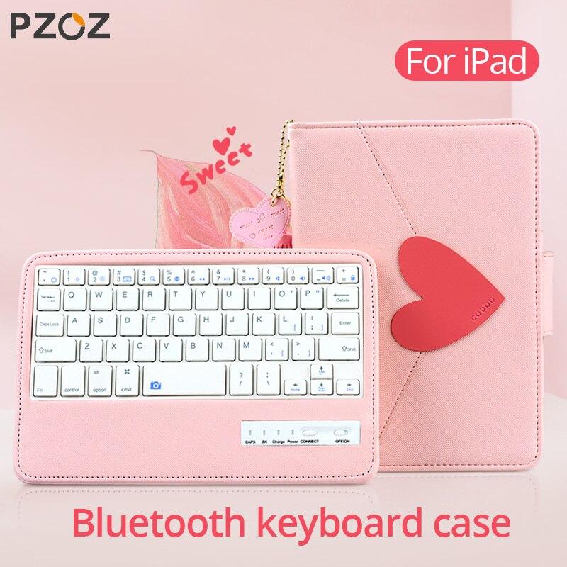 PZOZ para Apple iPad 9,7 Pro 10,5 pulgadas 2017 nueva 2018 mini iPad 5 4 3 1 2 funda protectora con teclado Bluetooth