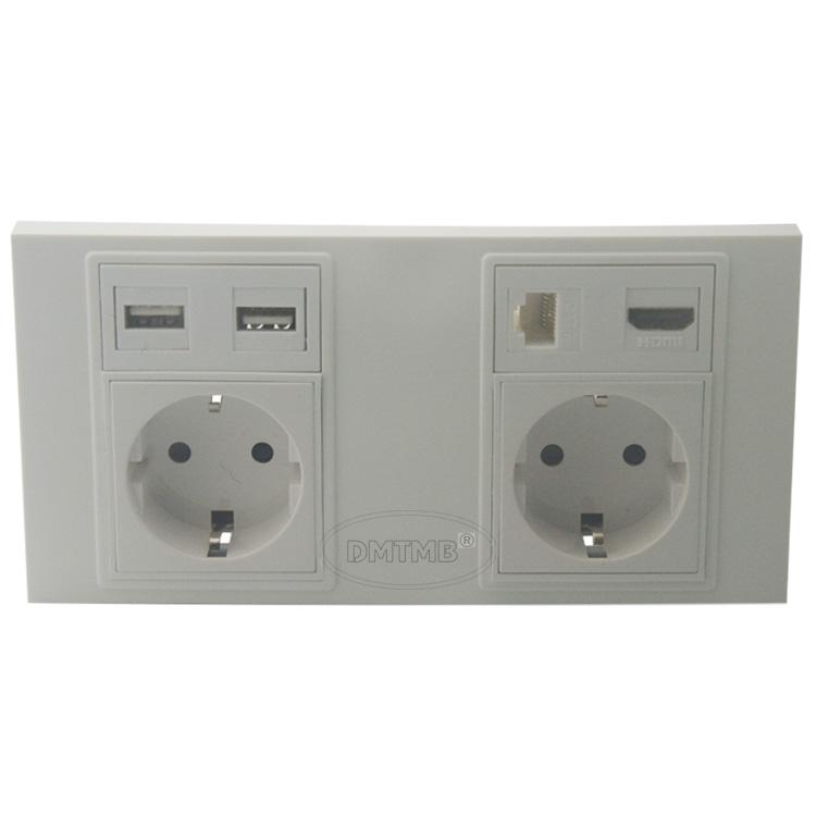 Dual 86 172 style wall plate with Dual EU power, Dual USB, HDMI, CAT6 RJ45 support DIY wall plate цена